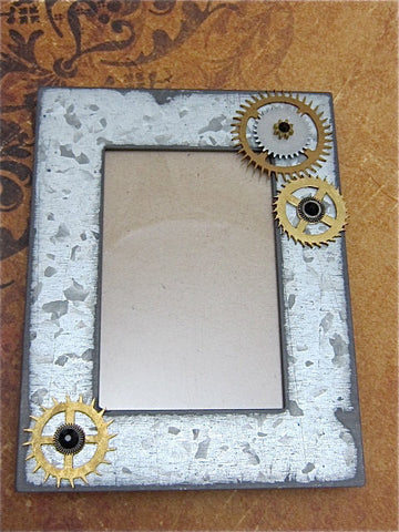 Steampunk Frame - A Moment in Time- Recycled - Upcycled - Steampunk Picture Frame - by SteampunkJunq - Great Gift or Stocking stuffer
