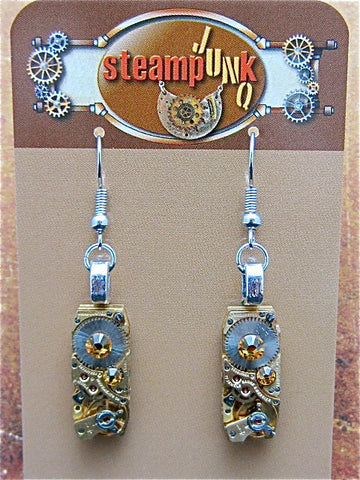 Steampunk - Oro Con Moto  - Steampunk Earrings - Recycled watch parts