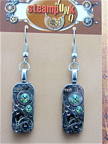 Steampunk earrings - Gleam  - Steampunk Jewelry made with real vintage watch parts