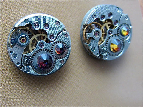 Steampunk Stud Earrings with Mechanical Watch Movements and Real Swarovski crystals, Steampunk Earrings
