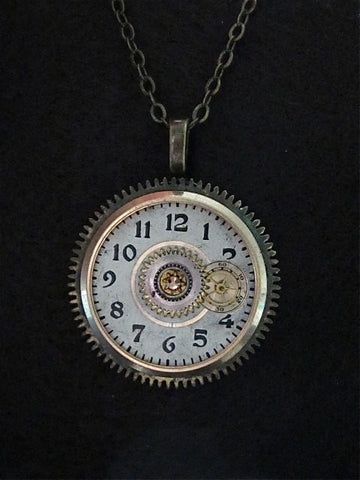 Steampunk Pendant Necklace - Orbit - Steampunk jewlery made with real vinatge watch and pocket watch parts