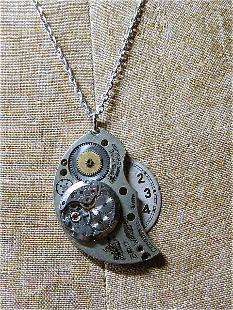 3446fc4d9 STeampunk Pendant necklace - Archive - Handmade Steampunk jewelry made with  real vintage pocket watch and