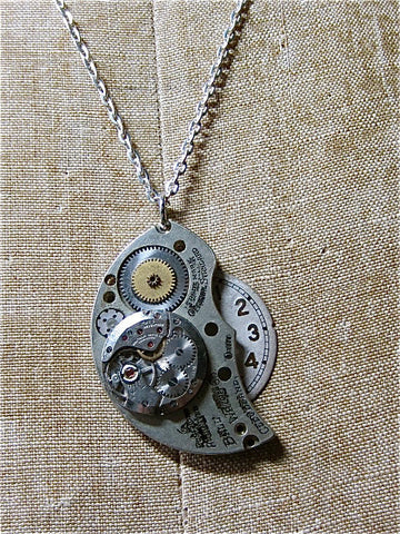 STeampunk Pendant necklace - Archive - Handmade Steampunk jewelry made with real vintage pocket watch and watch parts
