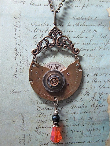 Steampunk pendant - Passage - Steampunk Necklace - Steampunk jewelry made with real vintage watch and Pocket watch parts