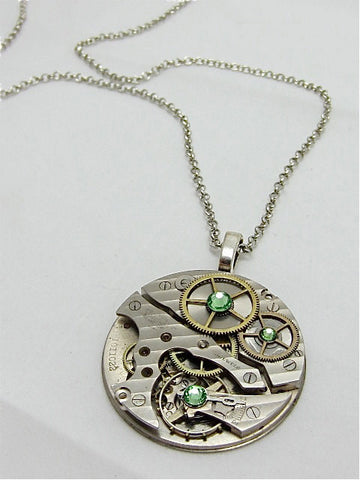 Steampunk Pendant - Peridot - Steampunk Necklace- Steampunk jewelry handmade with real vintage watch and pocket watch parts
