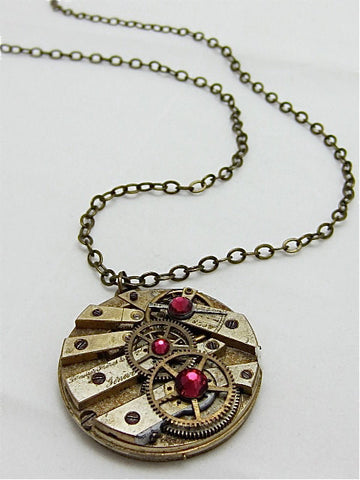 Steampunk Pendant - Time Lock - Steampunk Necklace- Steampunk jewelry made with real vintage Pocket watch parts
