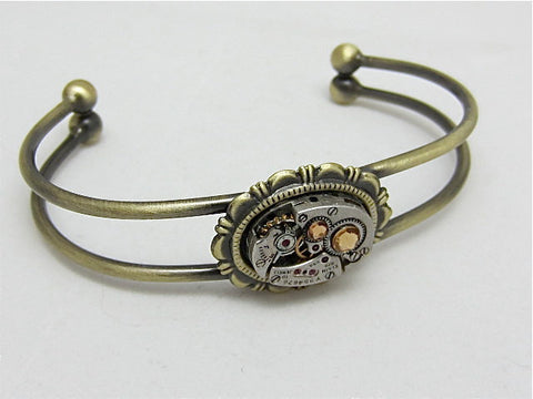 Steampunk Bracelet - Cuff - In the Works - Steampunk watch parts cuff - Bracelet - Light Topaz