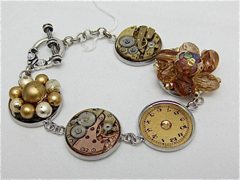 Steampunk Jewelry Bracelet - Beautiful upcycled watch parts and vintage earrings transformed into a one of a kind Bracelet