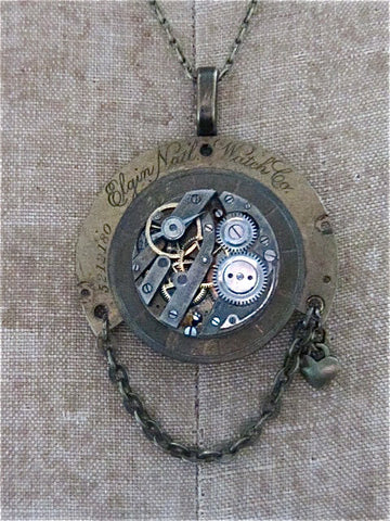 Steampunk pendant -  Steampunk love - Steampunk Necklace made with real vintage pocketwatch and watch parts