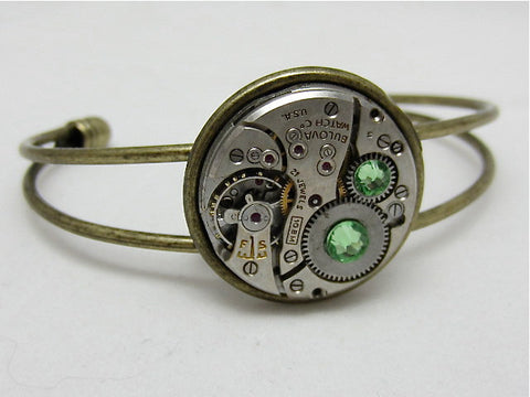 Steampunk Bracelet - In the Works - Steampunk watch parts cuff - bracelet - Peridot