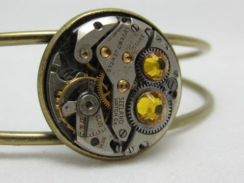 Steampunk Bracelet - In the Works - Steampunk watch parts cuff - bracelet