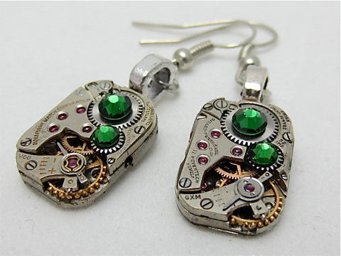 Steampunk ear gear - Emerald - Steampunk Earrings - Repurposed art