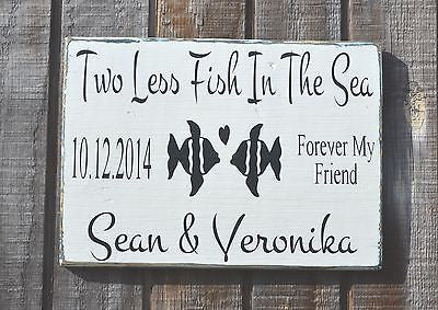 Wedding Decor, Two Less Fish In The Sea Beach Wedding Sign, Personalized Wood