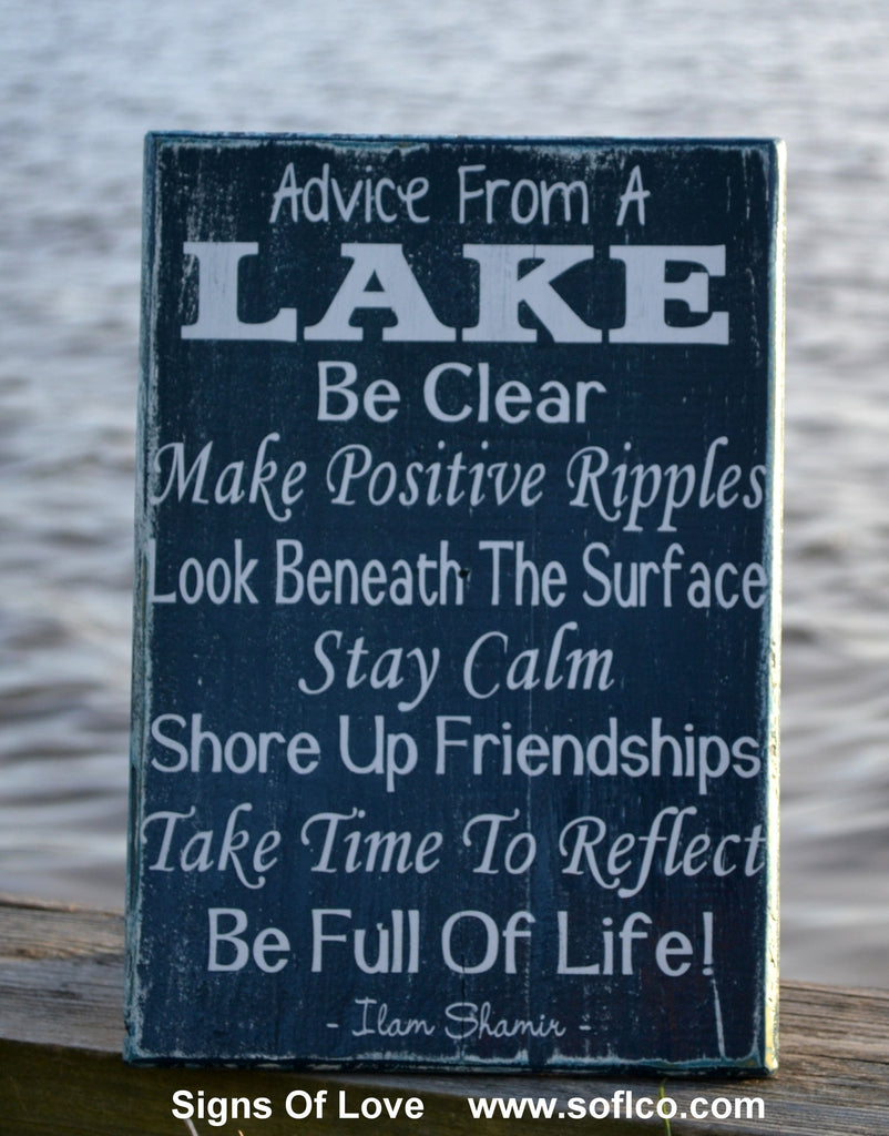 Large Advice From A Lake Sign Lakeside House Decor Hand Painted Wooden Plaque Inspirational Poem Large