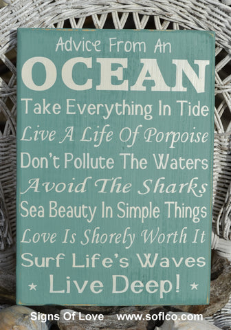 Advice From The Ocean Sign, Hand Painted Beach Decor, Ocean Poem, Live Deep, Nautical Coastal Theme, Rustic Wood, Sage Green