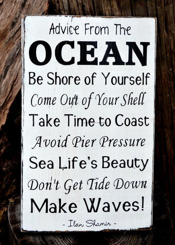 Advice From The Ocean Sign, Reclaimed Rustic Beach Decor - The Sign Shoppe - 1