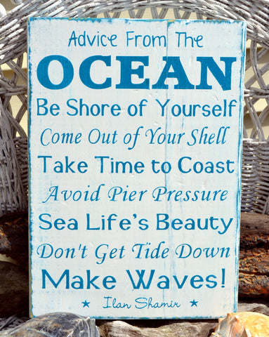 Advice From The Ocean Sign Beach Weathered Wood Signs Tropical Coastal House Home Nautical Wall Art