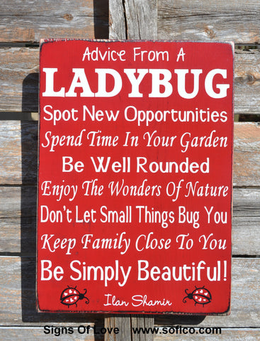 Advice From A Ladybug Wood Sign, LARGE Custom Wood Sign Outdoor Porch Gardener Garden Art Poem, Kitchen Decor, Inspirational Family Plaque