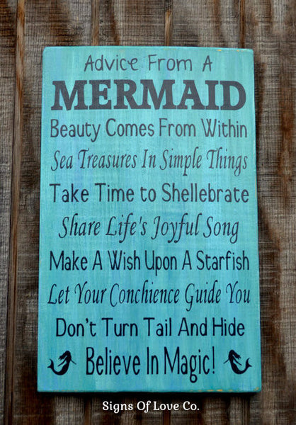 Advice From A Mermaid Sign Original Copyright Wood Sign PAINTED - Beach Mermaid Decor - Mermaid Quote Sayings Wall Art