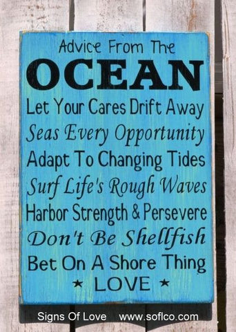 Advice From The Ocean Quote Wooden Sign Beach Wedding Love Wisdom Plaque Summer Decor