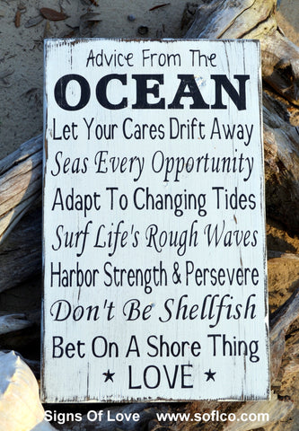 Advice From The Ocean Love Sign, Beach Wedding Decor Hand Painted Rustic Wood Wall Art