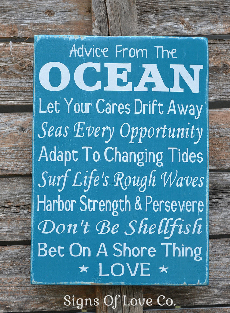 Advice From The Ocean Wood Sign Beach Decor - Beach Themed Wedding Wooden Sign - Ocean Advice Poem Quote Sayings
