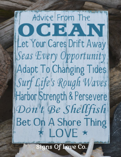 #advicefromtheocean #advice #ocean #beach #decor #sign #etsy