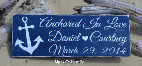 Anchored In Love Beach Wedding Sign Personalized Navy