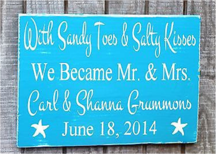 Beachy Sandy Toes and Salty Kisses, Mr and Mrs Signs, Anniversary Gift Ideas, Beach Wedding Sign, Light Blue, Personalized Wooden Plaque