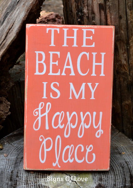 Nautical Home Wall Decor, Coastal Sign Art, The Beach Is My Happy Place Sign Coral Beach Coastal Themed Room Beach Lover Gift