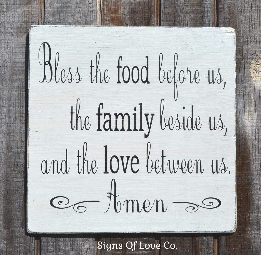 Bless The Food Before Us Rustic Hand Painted Wooden Plaque Sign