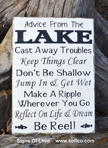 Advice From A Lake Sign Lake House Decor Carova Beach Crafts Wall Art Gift Handmade