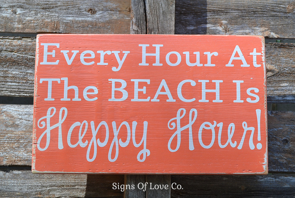 Beach Sign, Bar Sign, Coastal Decor, Happy Hour At The Beach Wood Sign, Custom Beach House Sign, Beach 5 O Clock Quotes, Beach Fun Life