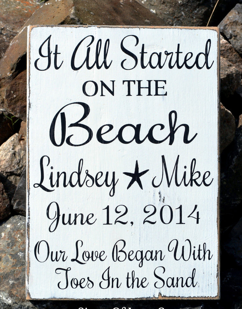 Beach Wedding Sign Personalized Wedding Gift Wood Nautical Theme Rustic Decor Inspiration Shower Anniversary Sandy Toes Destination Seaside