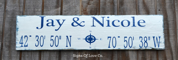 Where Our Story Begins Began Latitude Longitude Personalized Beach Wedding Sign Decor