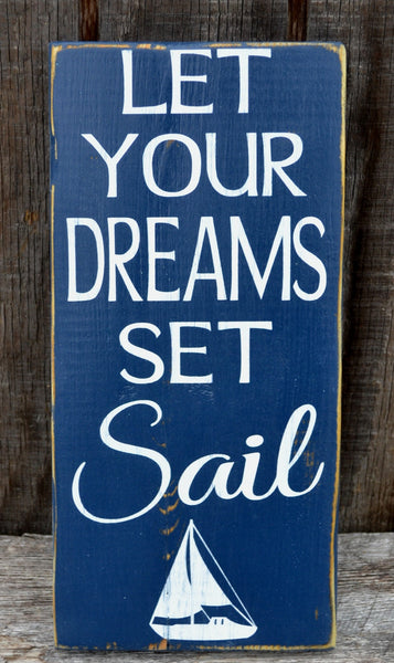 Nursery Decor Let Your Dreams Set Sail Sign Kids Room Children's Wall Art Beach Theme Baby Plaques Sailboat Surf Sea Boys Girls Room Bedroom