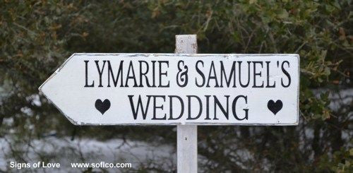 Wedding Directional Wood Sign Personalize Rustic Bride Groom Arrow Stake Welcome