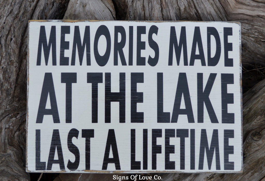 Lake Sign House Decor Wal Painted Wood Memories Made At The Lake Carova Beach Crafts