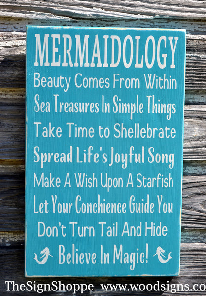 Mermaid Decor Mermaids Sign Wall Art Beach Mermaidology Sayings Signs, Nautical Gift Coastal House Advice Rules Unique Painted Ocean Sign