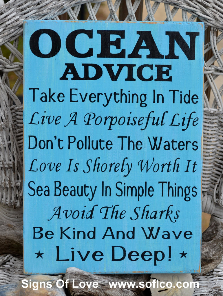 Ocean Advice Sign , Hand Painted Beach Decor Signs, Wisdom From The Ocean Wood Sign Beach House Rules Inspired
