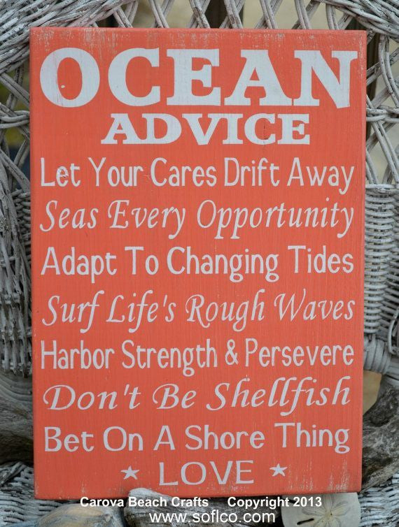 Ocean Advice Signs Beach Rules Summer Decor Advice From The Ocean Wood Sign Weathered Custom Wooden Plaque