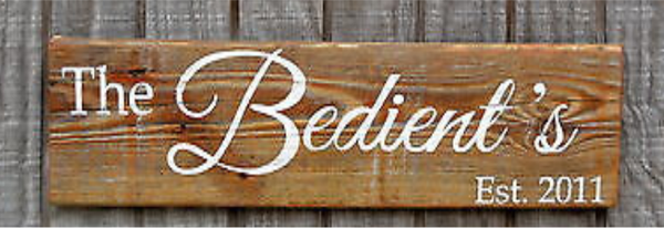 Rustic Reclaimed Wood Sign Family Last Name Personalized Gift Entry Porch Plaque