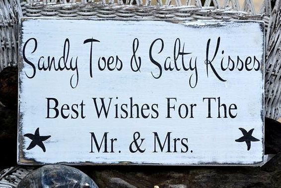 Sandy Toes And Salty Kisses Congratulations Mr Mrs Beach Wedding Decor Signs Personalized Hand Painted