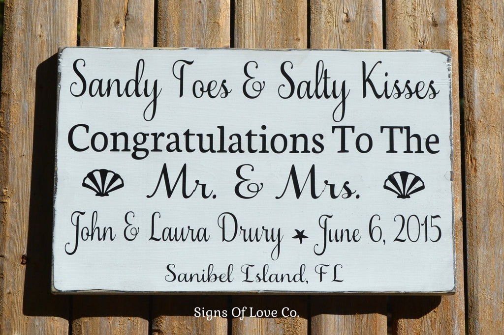 beach wedding signs decorations sandy toes salty kisses best wishes congratulations mr and mrs beachwedding