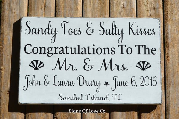 Beach wedding signs decorations sandy toes salty kisses best wishes congratulations mr and mrs #beachwedding #signs #best #popular #sandytoes #saltykisses #bestwishes #congratulations #mr #mrs