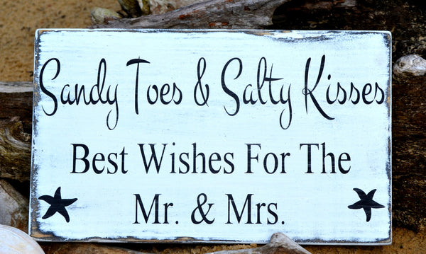 Beach Wedding Sign - Sandy Toes And Salty Kisses Best Wishes Mr And Mrs Gift Guest Book Cake Table