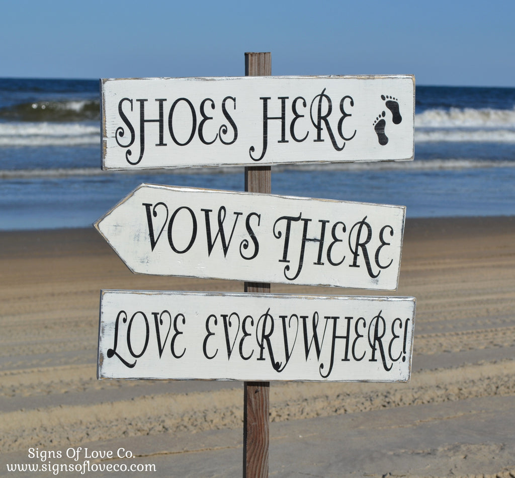 shoes here vows there love everywhere beach wedding signs directional vintage attic carova crafts family