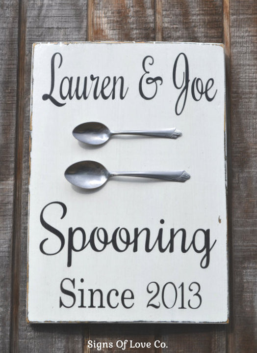 Wedding Signs Chalkboart Art Wood Plaque Kitchen Decor Spooning Since Personalized Rustic Wood Hand Letter Carova