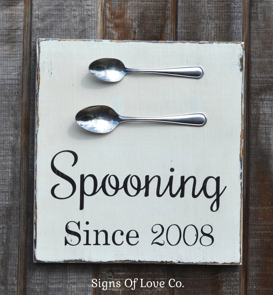 Spooning Since Sign Painted Vintage Rustic Chic Kitchen Decor Modern Wall Art Wooden Signs Carova Crafts Pinterest Etsy