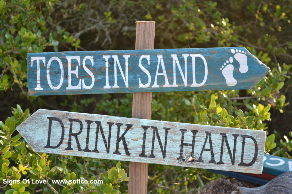 Directional Beach Wedding Sign Rustic Shoes Optional Toes In Sand Rustic Barefoot Custom Drink In Hand Large Personalized